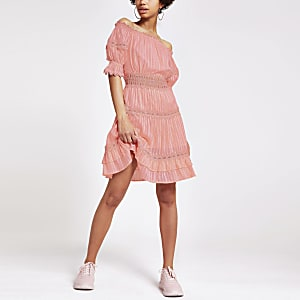 Coral lace bardot dress