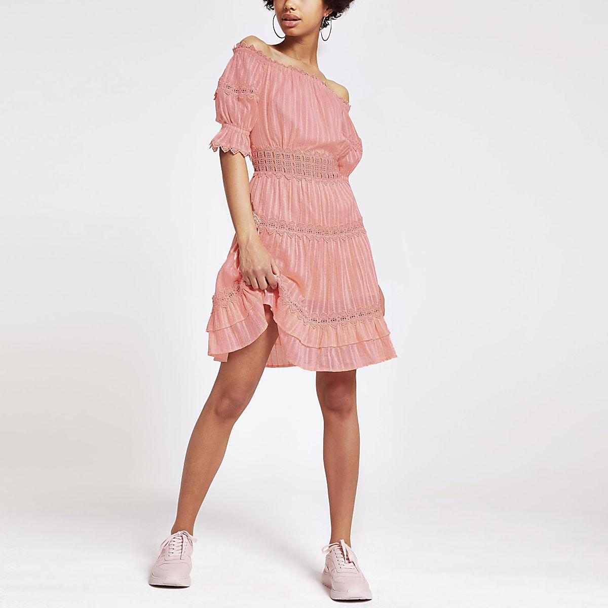 Coral lace bardot dress