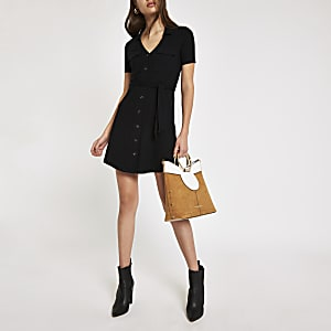 Black ribbed utility shirt dress