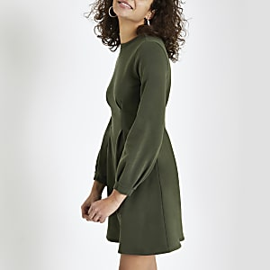 Khaki long sleeve jumper dress