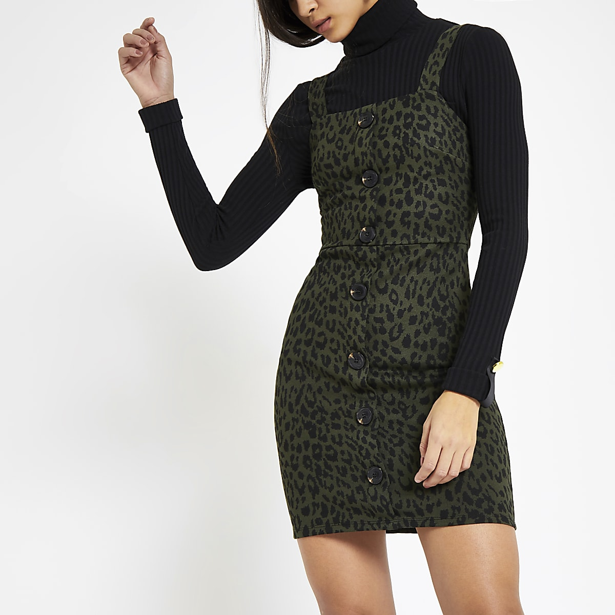Khaki leopard print pinafore dress