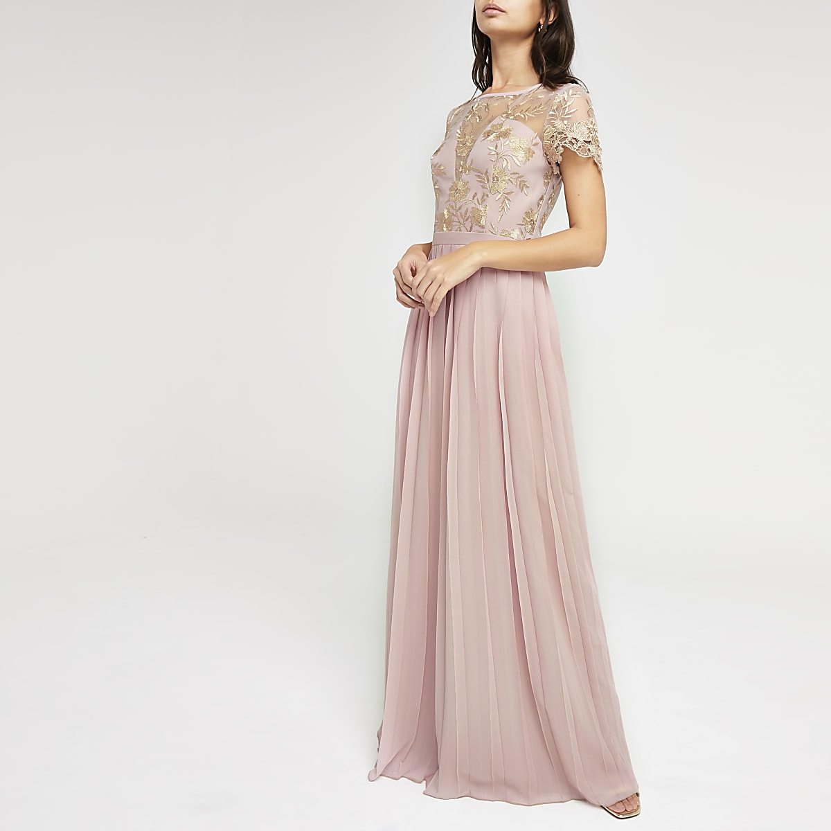 2cf6eea4e22f70 Chi Chi London - Roze geplooide maxi-jurk - Maxi-jurken - Jurken - Dames