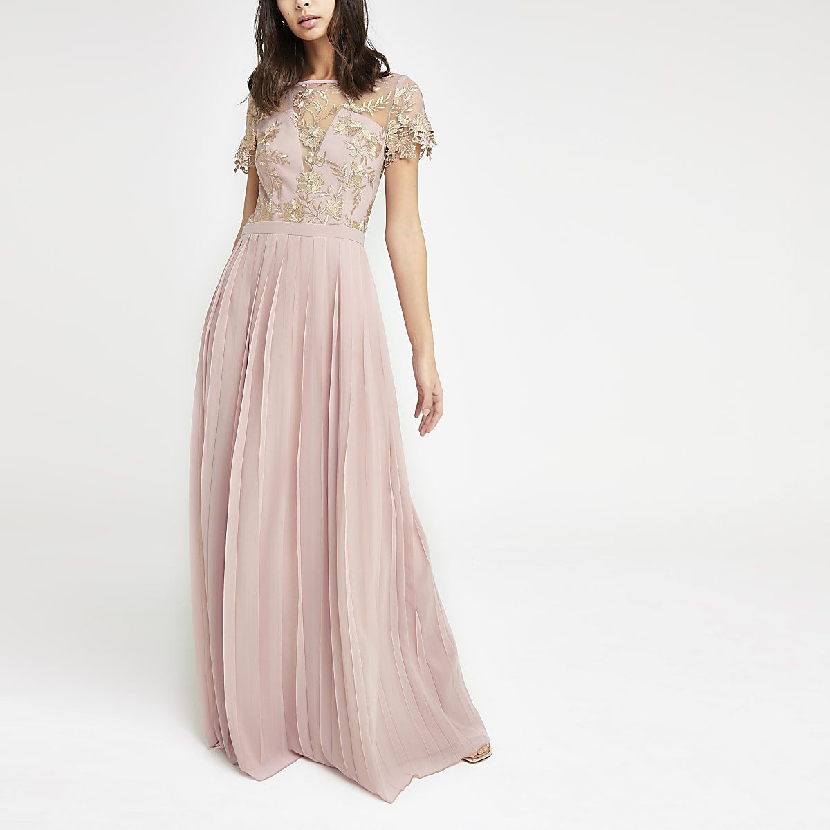 Chi Chi London pink pleated maxi dress