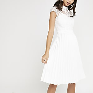 Chi Chi London white lace pleated prom dress