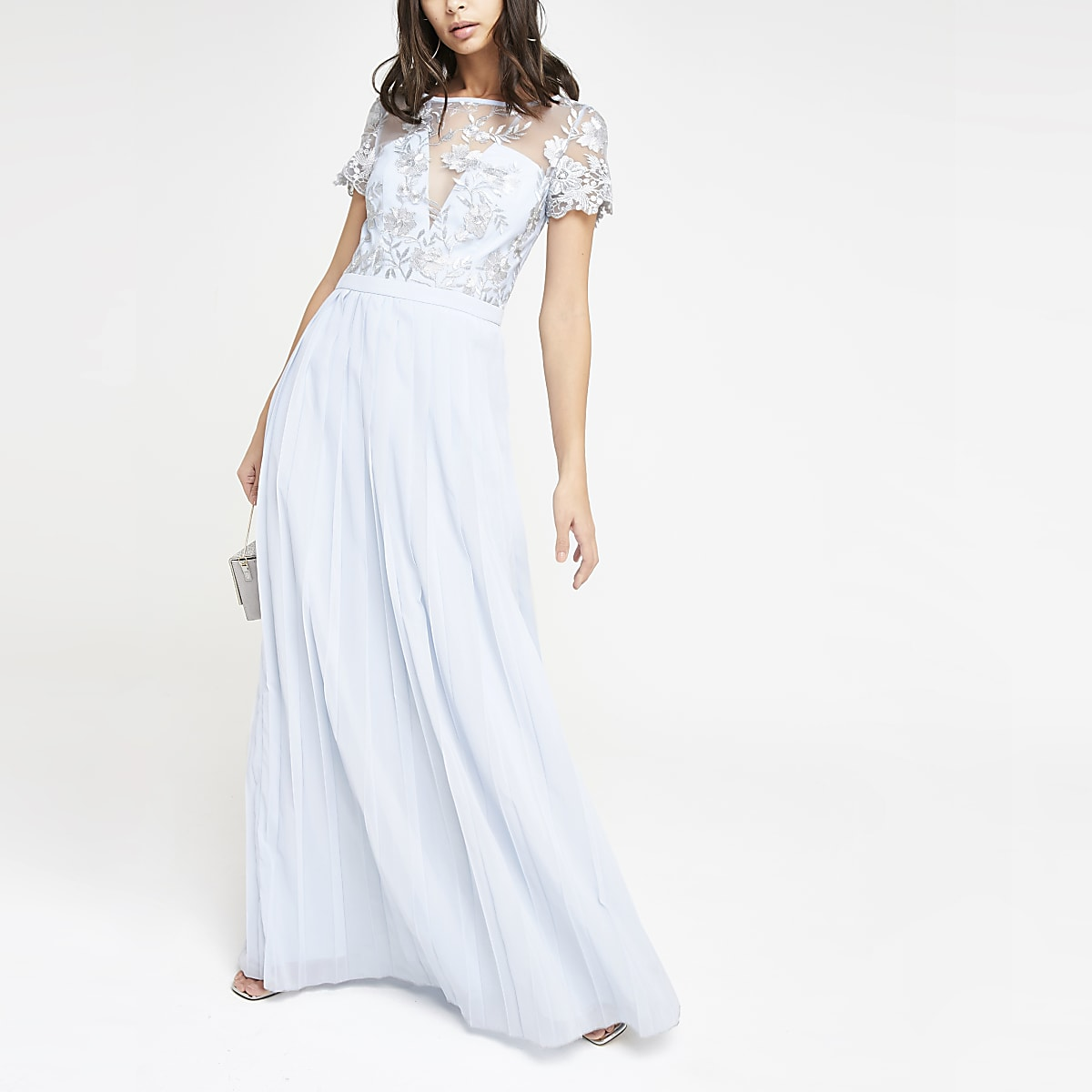 Chi Chi London light blue pleated maxi dress