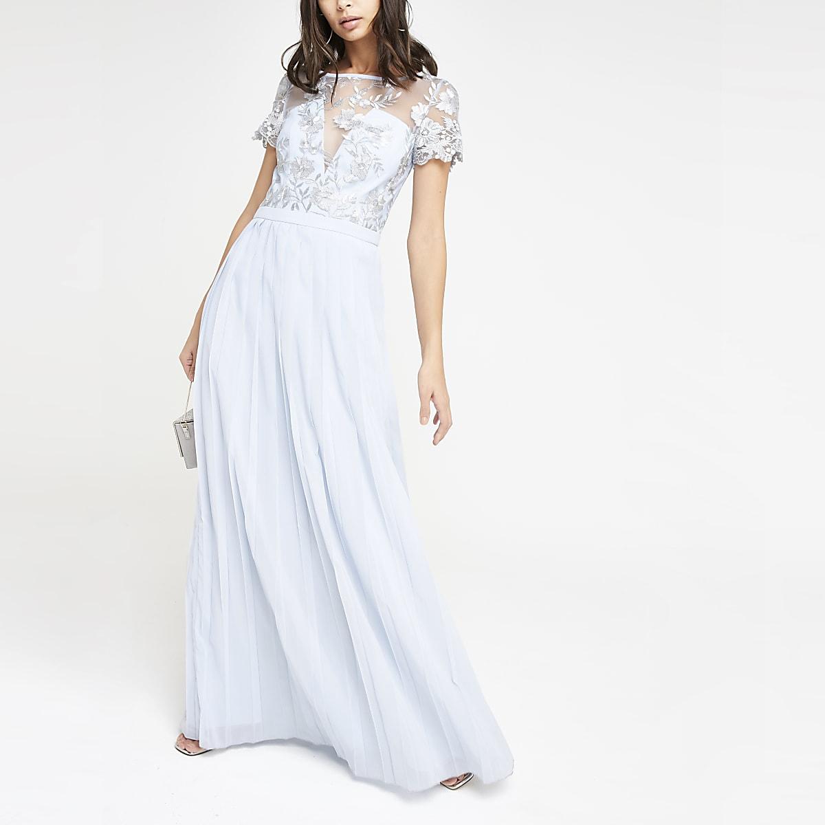 Chi Chi London light blue pleated maxi dress