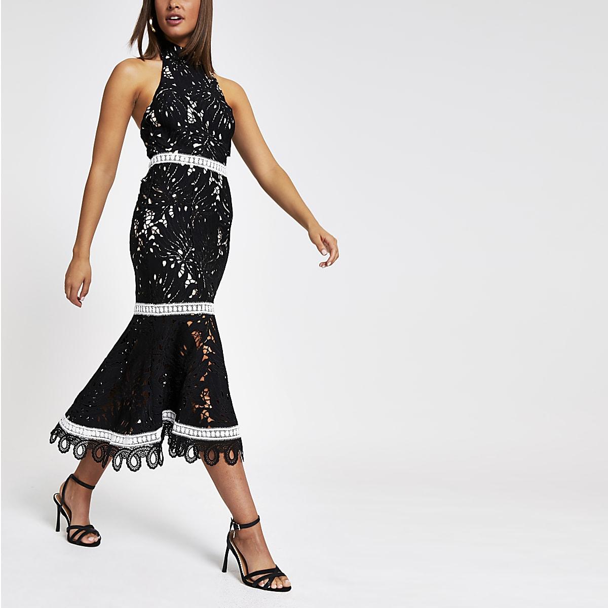 Forever Unique - Zwarte hoogsluitende kanten jurk