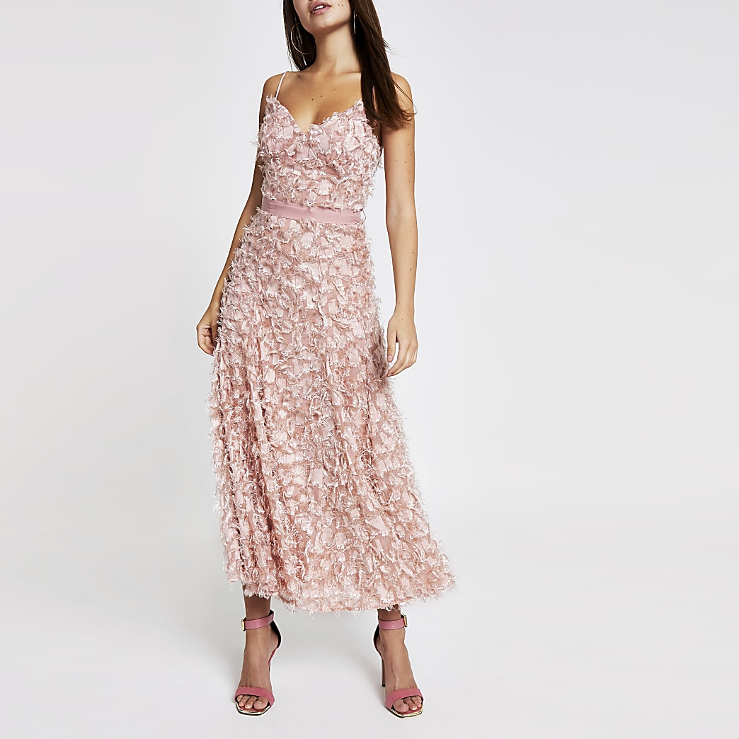 Forever Unique light pink textured maxi dress