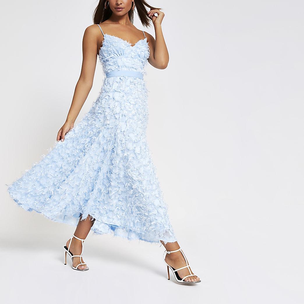 Forever Unique - Blauwe maxi-jurk met textuur
