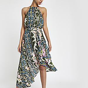 Forever Unique green snake tie midi dress