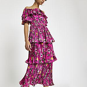 Forever Unique – Robe Bardot mi-longue imprimée rose