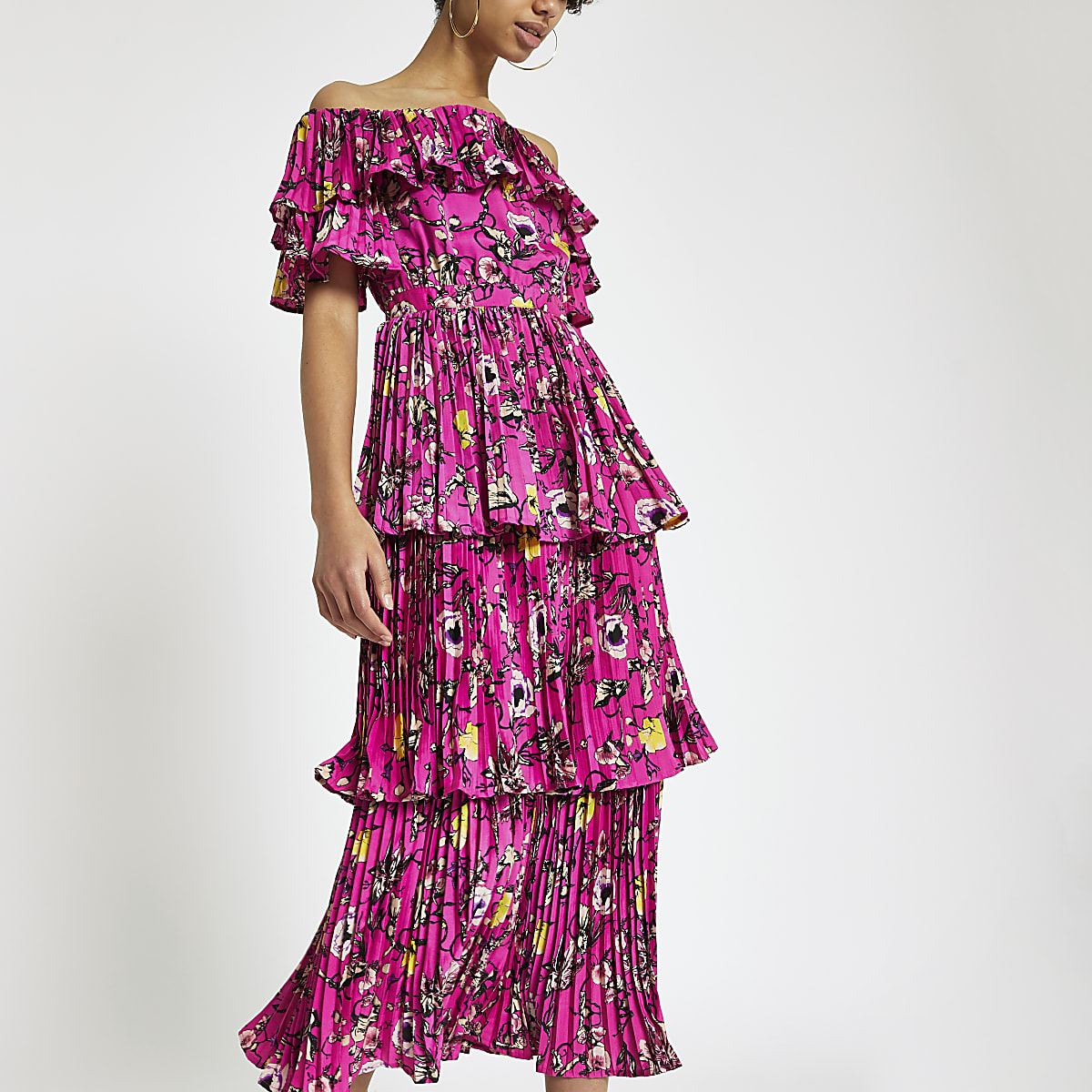 Forever Unique pink printed bardot midi dress