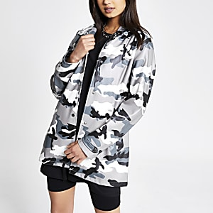 Grey camo waterproof hooded rain mac