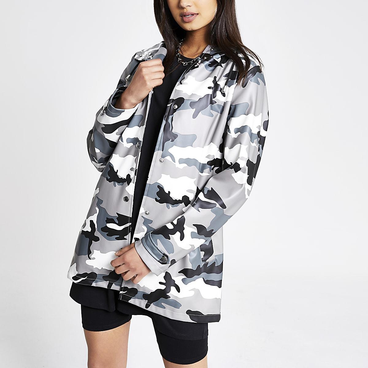 Grey camo waterproof hooded rain mac