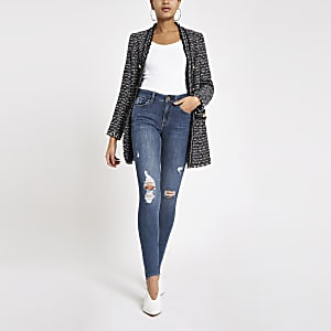 Amelie - Blauwe ripped skinny jeans