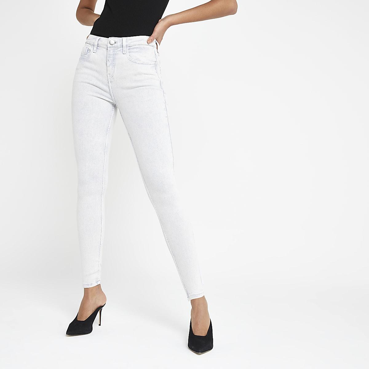 Amelie lichtgrijze superskinny jeans