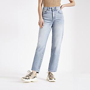 Lichtblauwe jeans met rechte pijpen