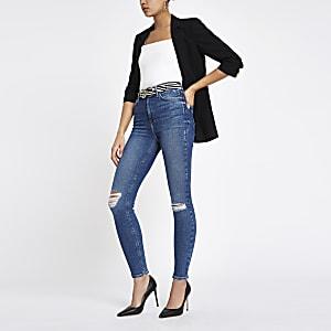 Hailey – Mittelblaue Jeans im Used-Look