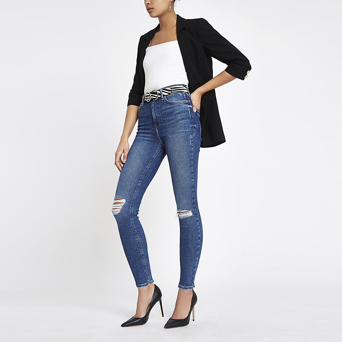 Hailey - Middenblauwe ripped denim jeans met hoge taille