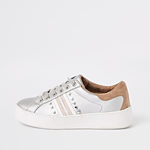 Silver stud embellished lace-up sneakers
