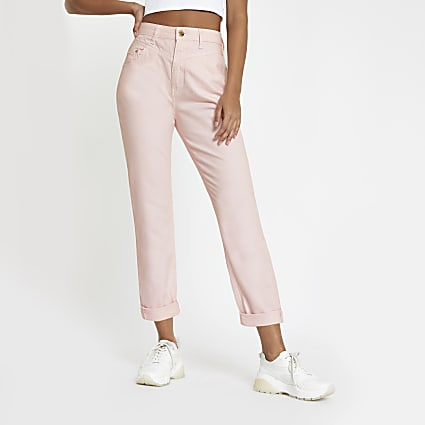 Light pink Mom fit high rise jeans