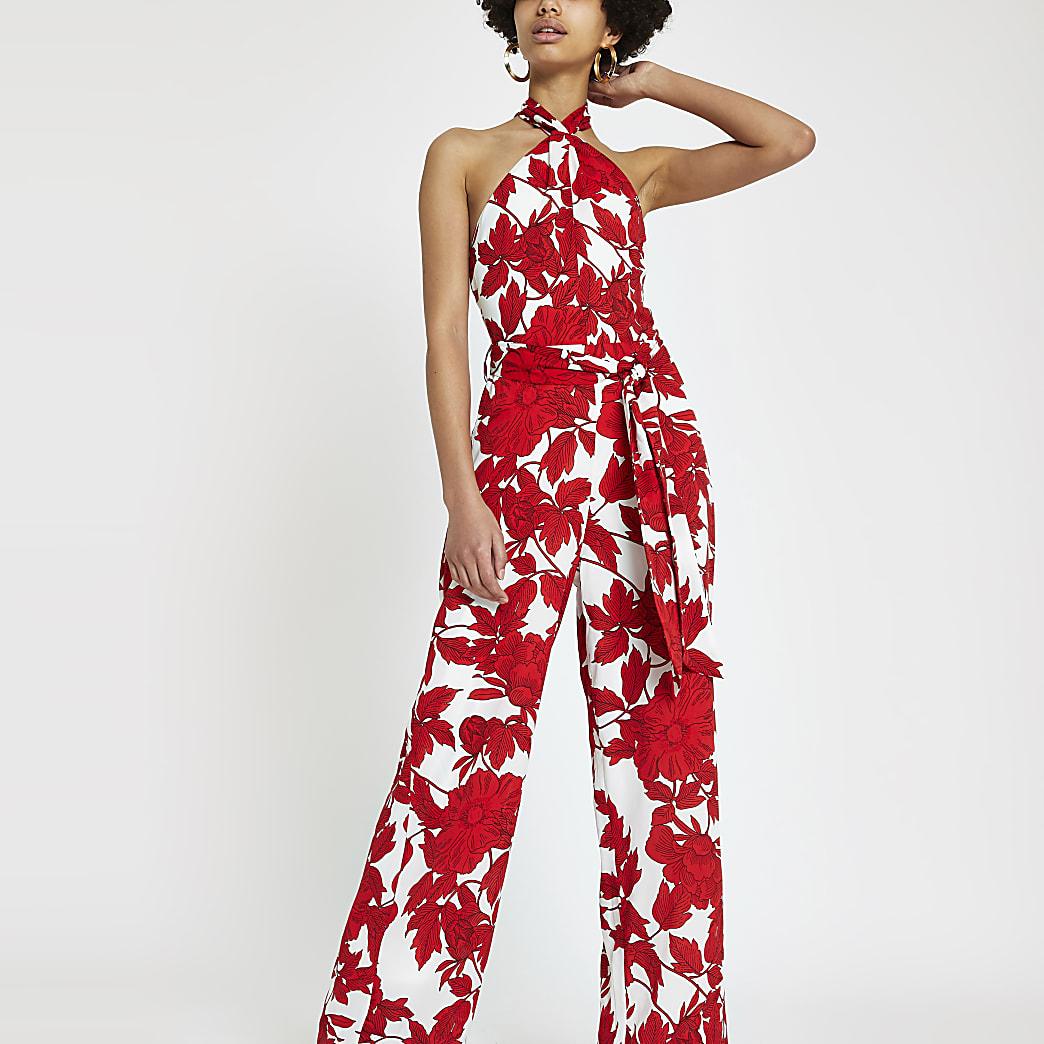 Forever Unique red print halter neck jumpsuit