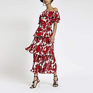 Forever Unique – Robe Bardot mi-longue imprimée rouge