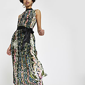 Forever Unique – Robe mi-longue plissée motif serpent verte