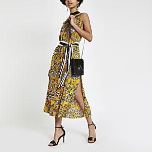 Forever Unique – Robe mi-longue plissée à imprimé zèbre