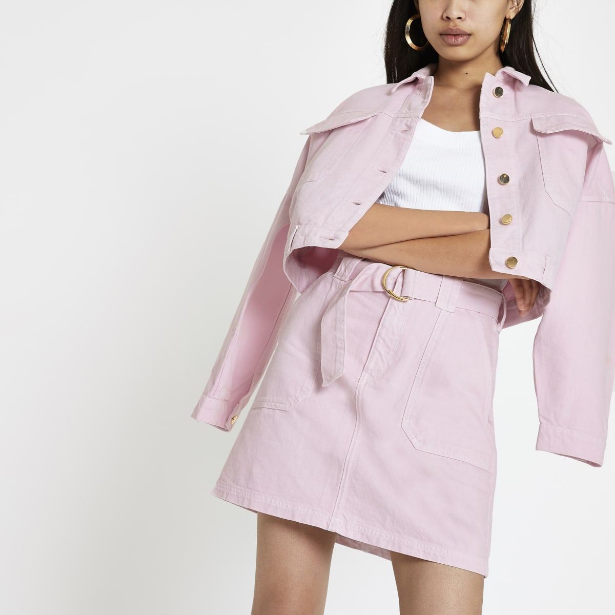 Pink utility denim skirt