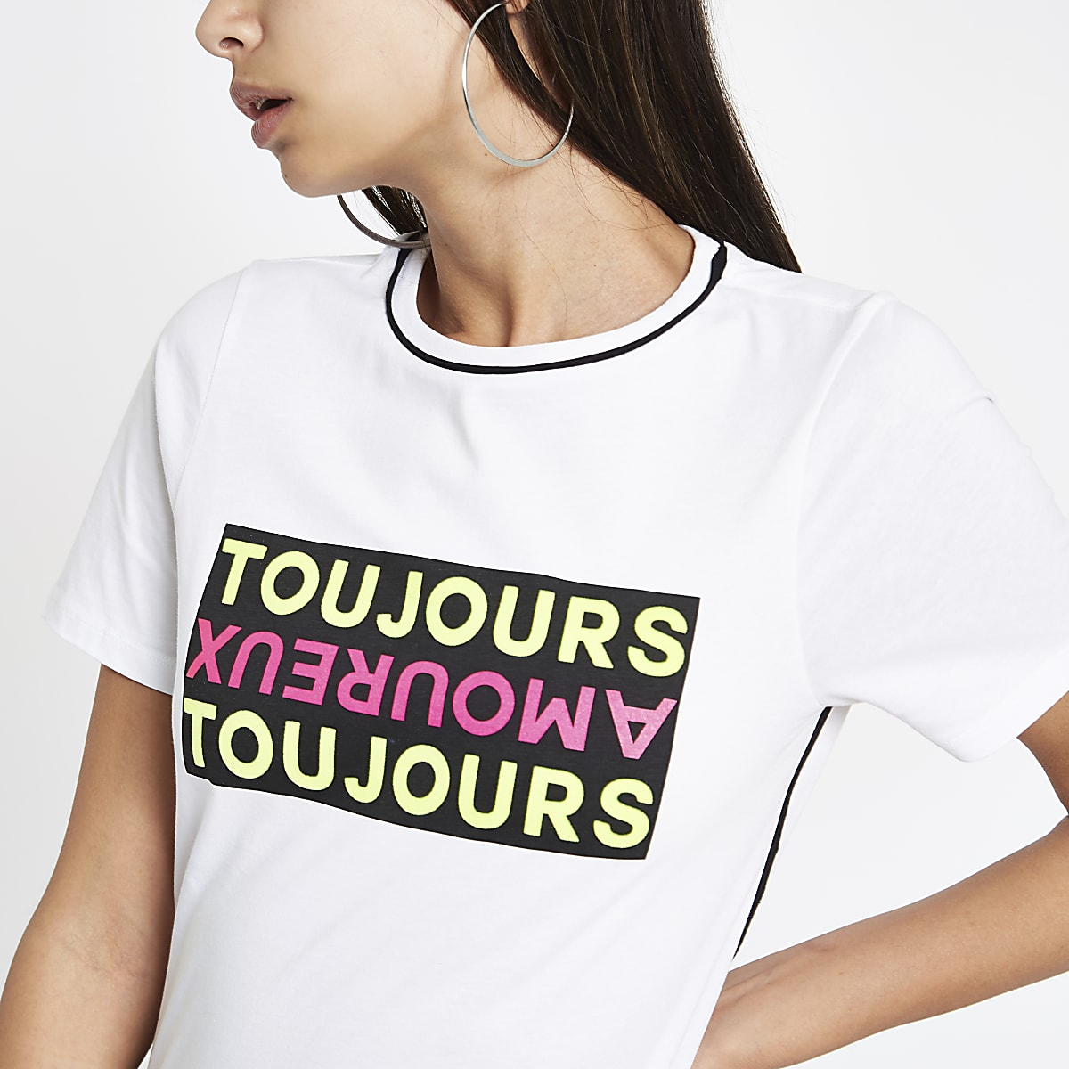 White 'Toujours' piped short sleeve T-shirt