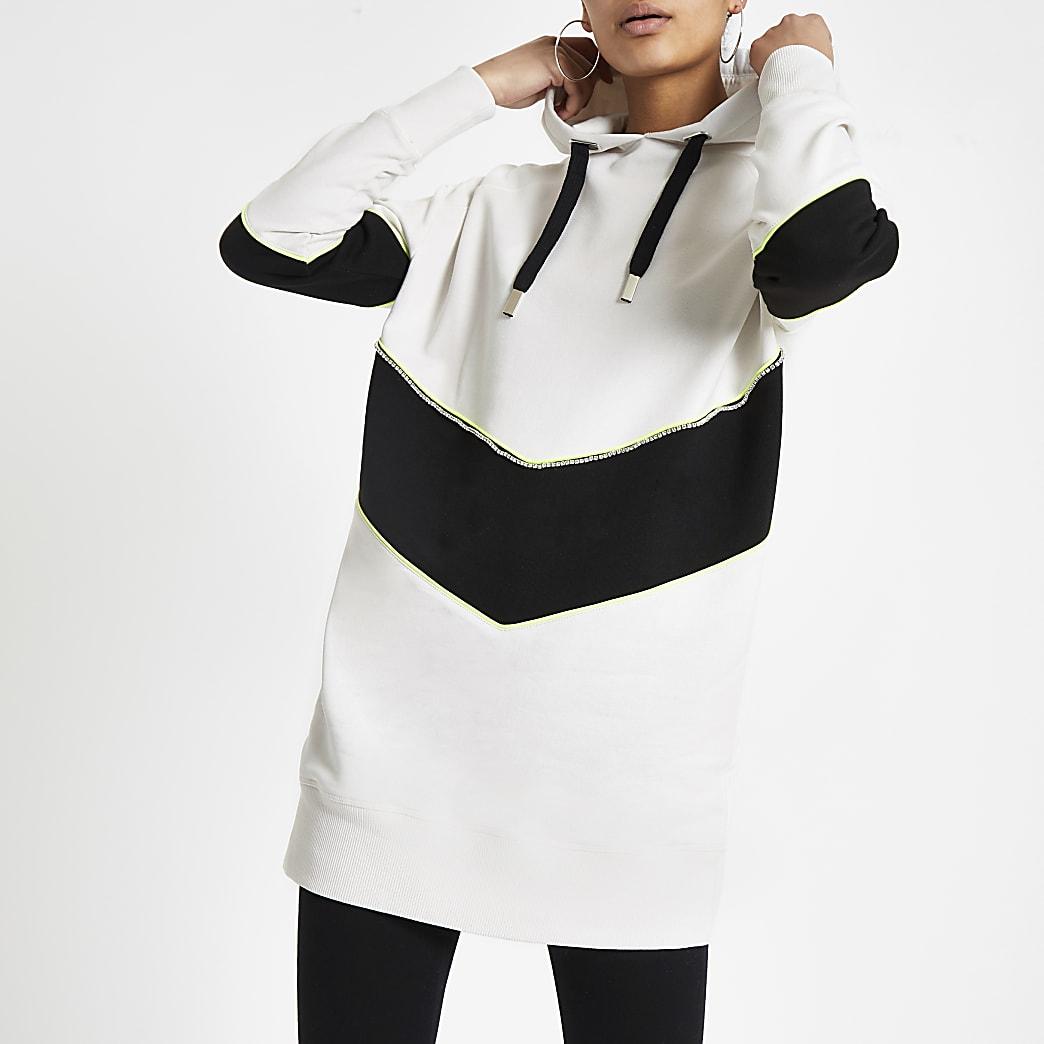 White chevron longline hoodie