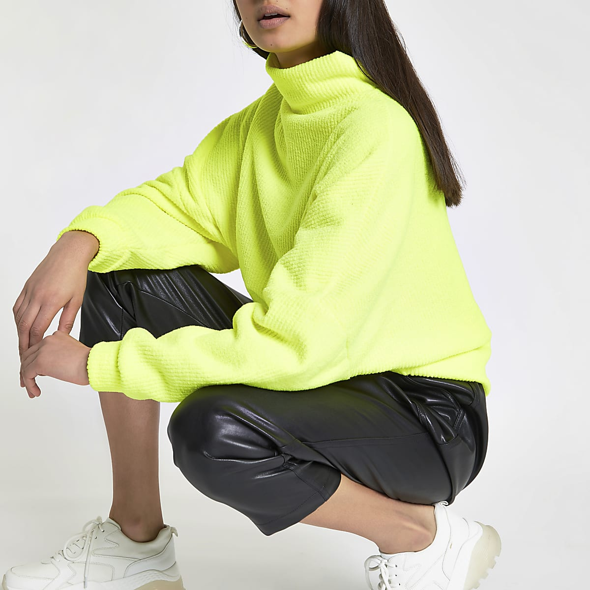 Neon yellow high neck batwing sleeve sweater