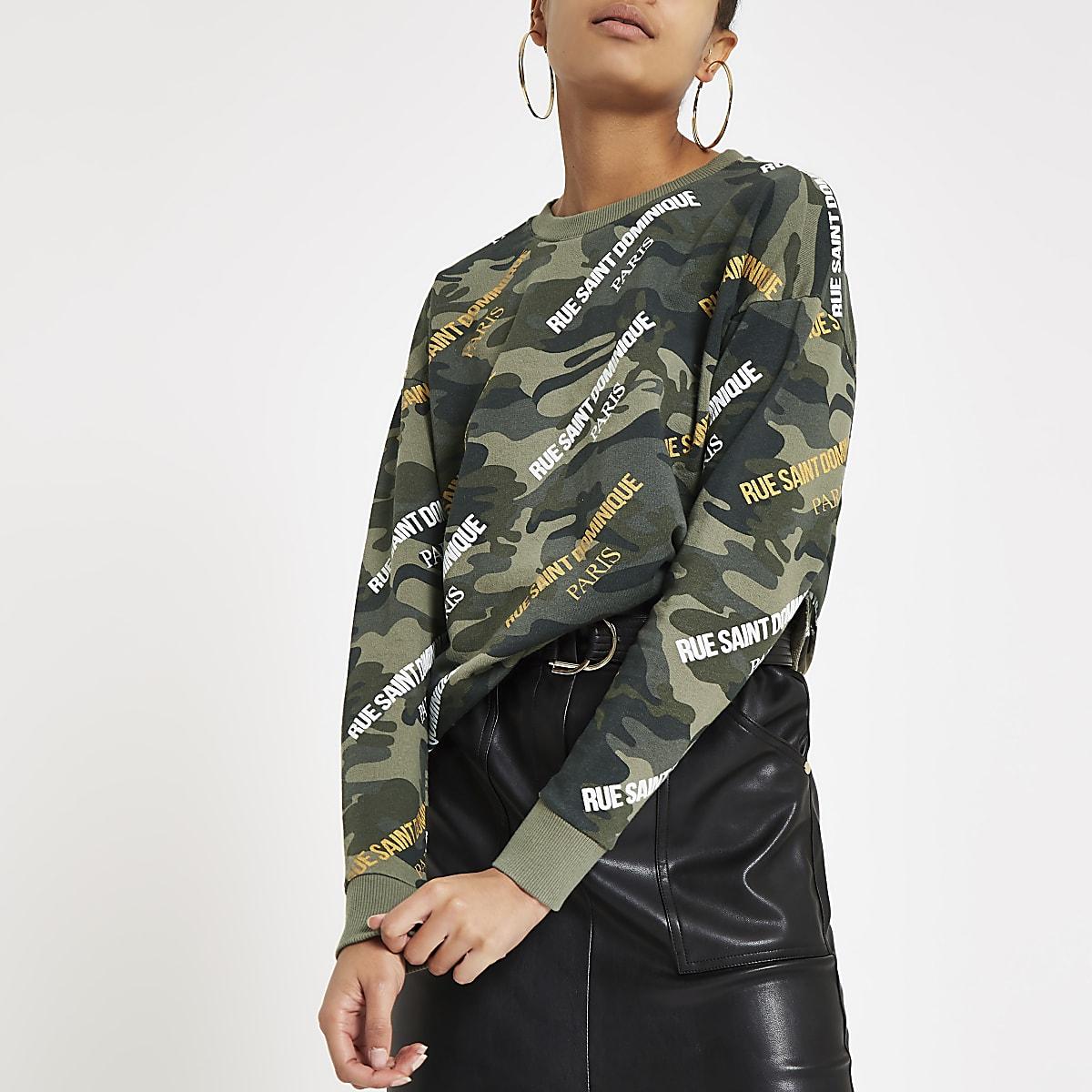 Kaki sweatshirt met camouflageprint en 'Rue Saint Dominique'-print