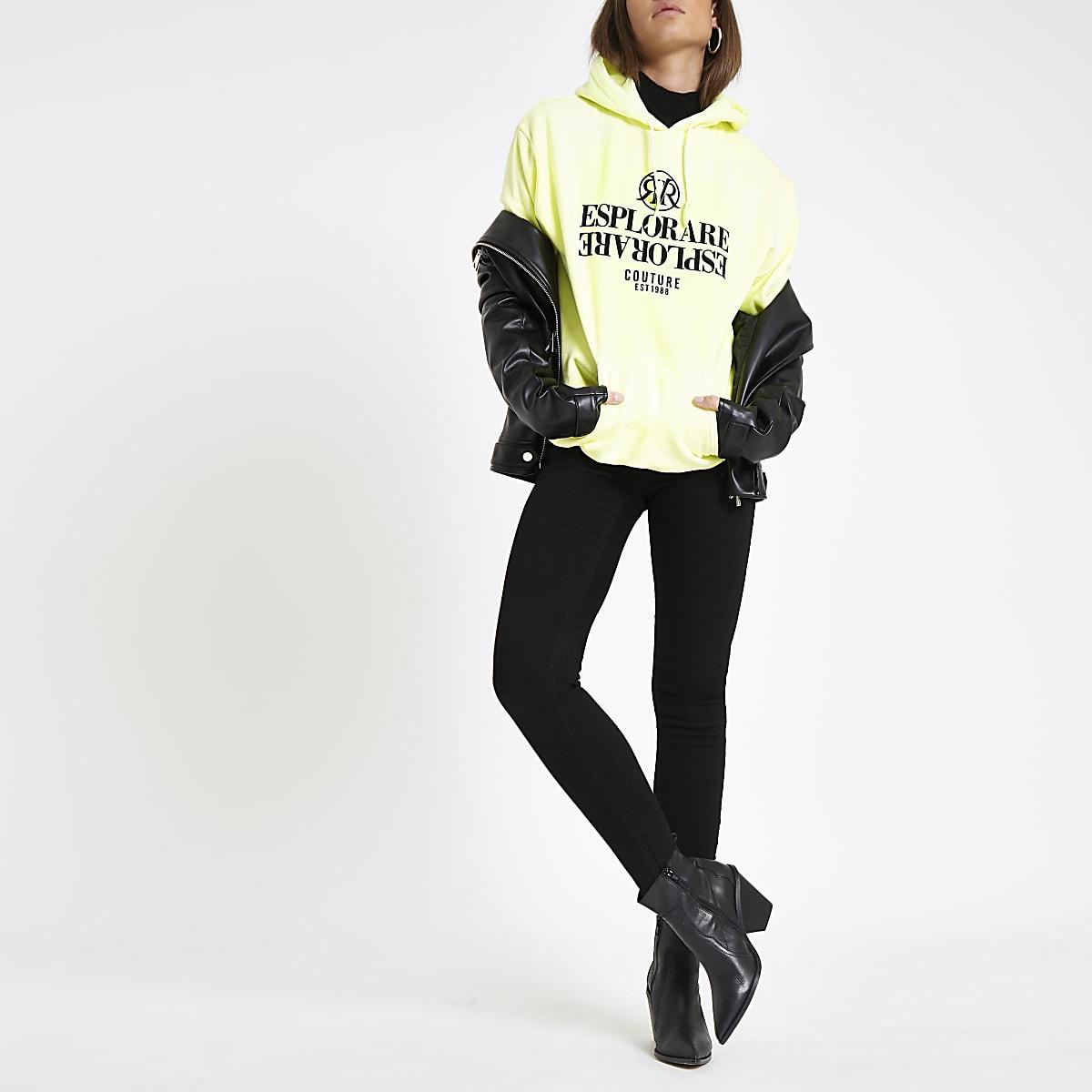 Fluro yellow 'Esplorare' flock print hoodie