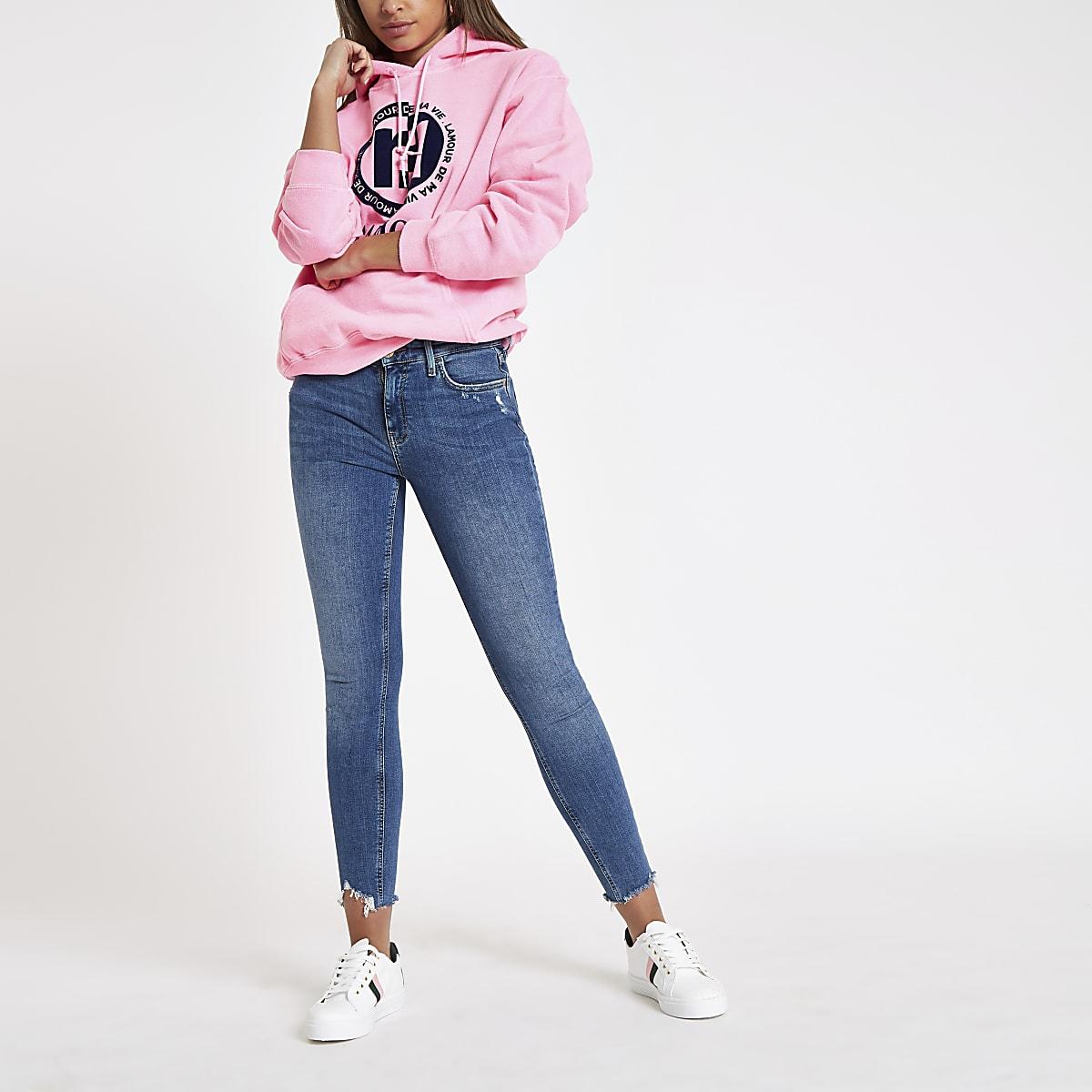 Pink fluroscent 'L'amour' print hoodie