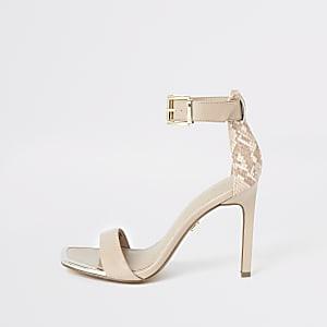 Beige minimalistische sandalen met slangenprint