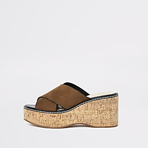 Light brown mule wedge sandals