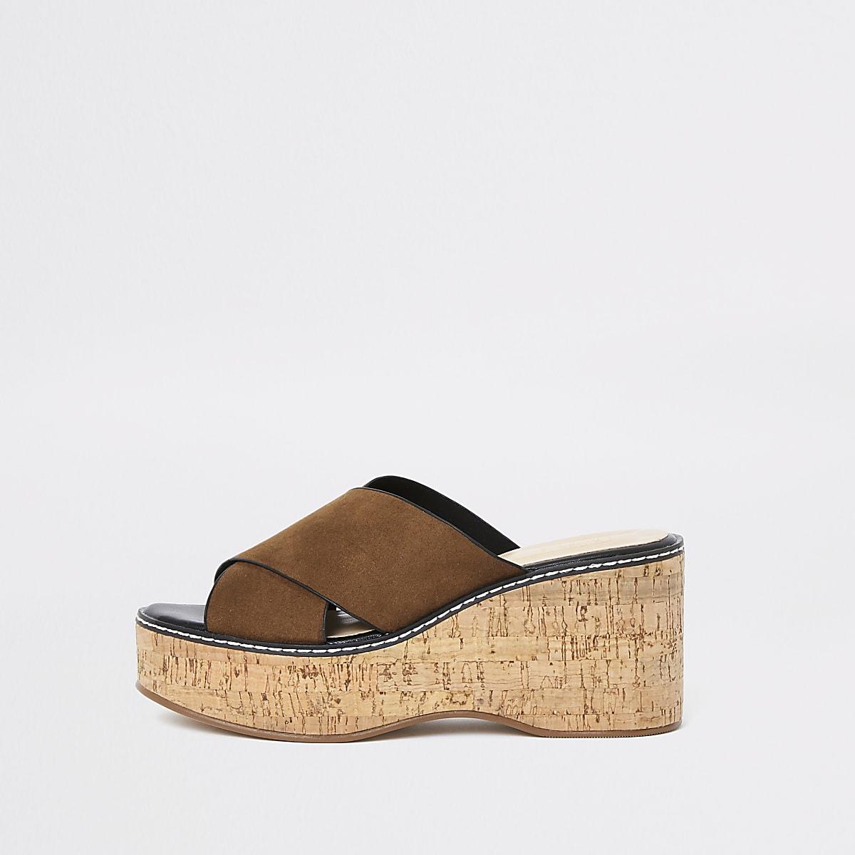 Light brown mule wedge sandals