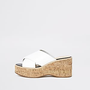 White mule wedge sandals