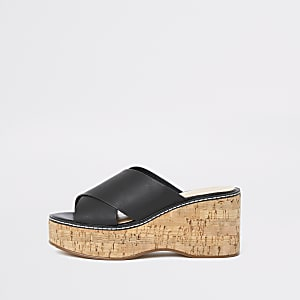 Black cross strap vamp wedges