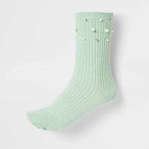 Hellgrüne Sneakersocken mit Perlenverzierung