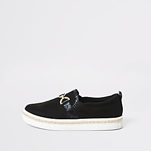 Black snaffle slip on trainers