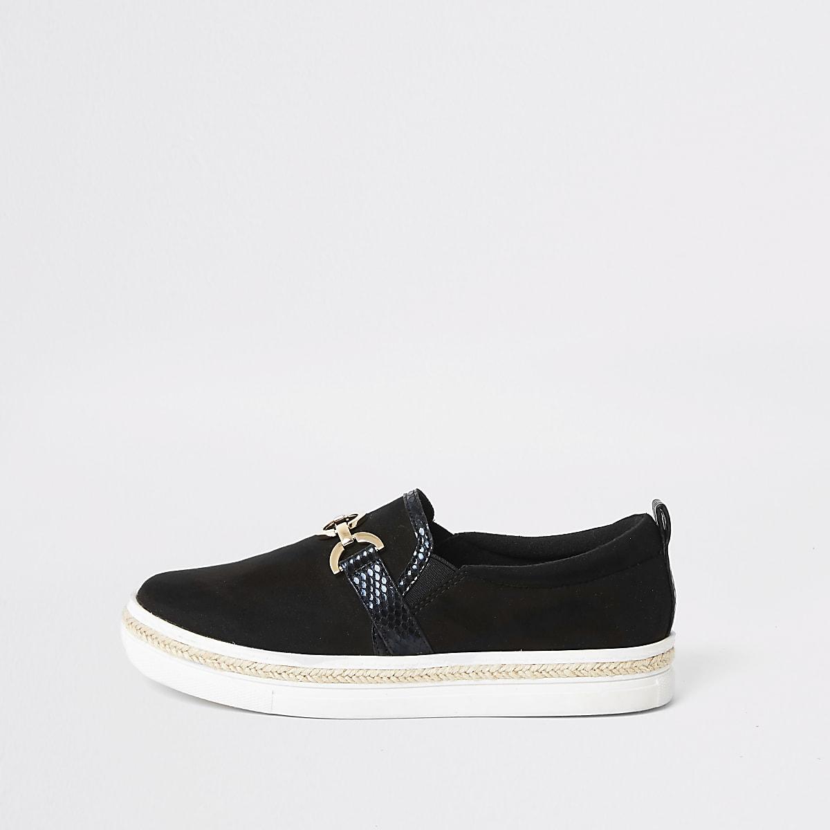 Black snaffle slip on sneakers