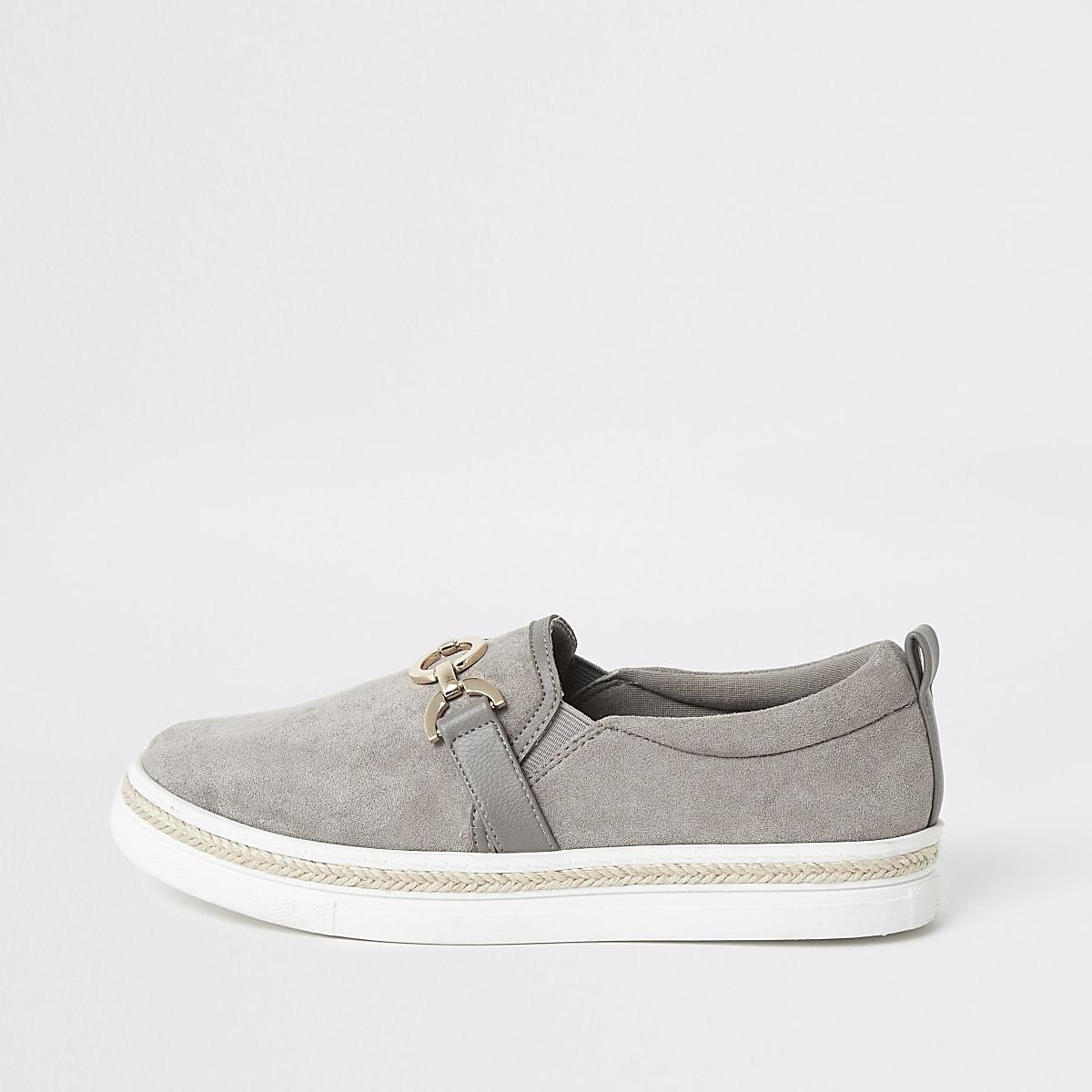 Grey snaffle slip on sneakers