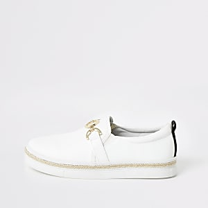 White snaffle slip on sneakers