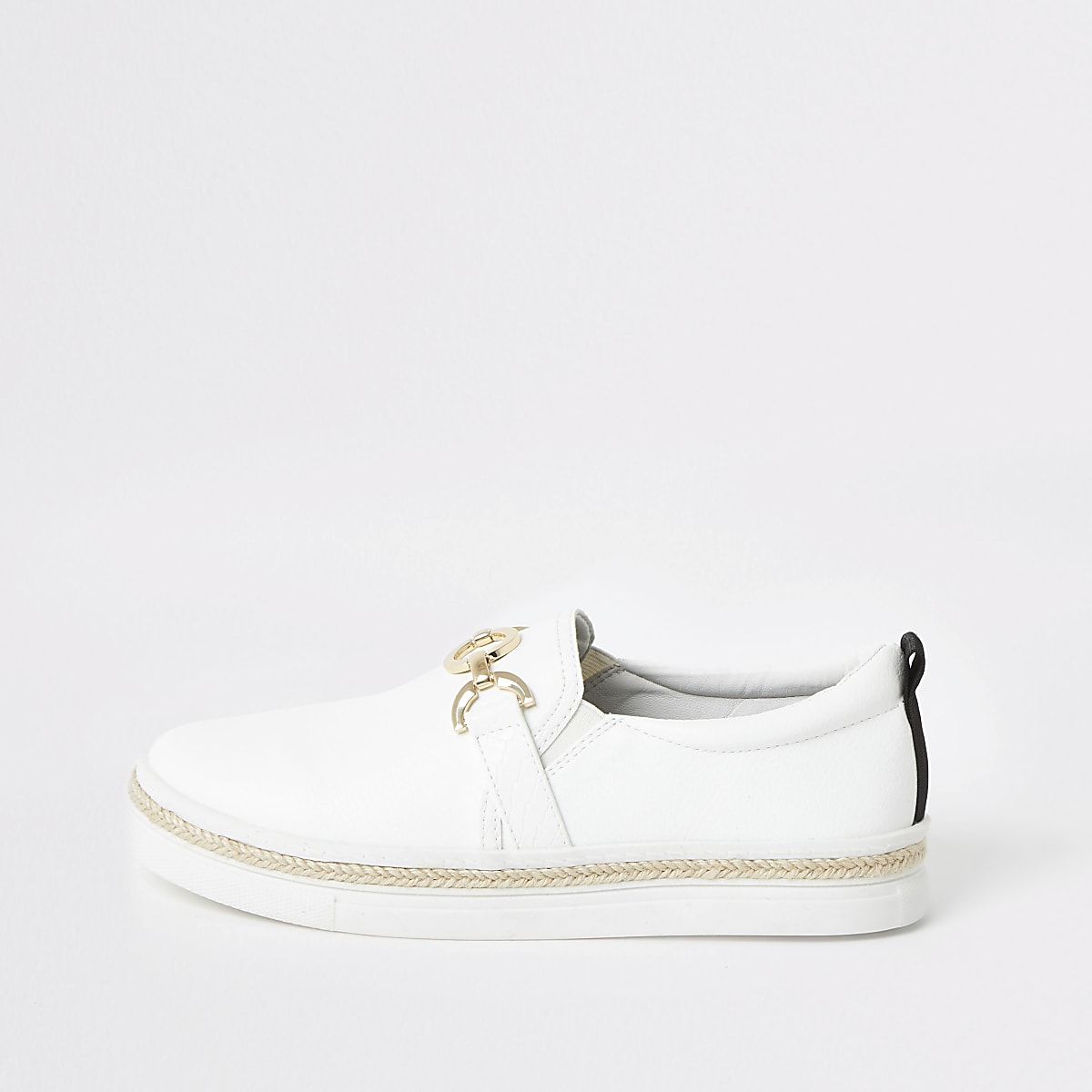 White snaffle slip on trainers