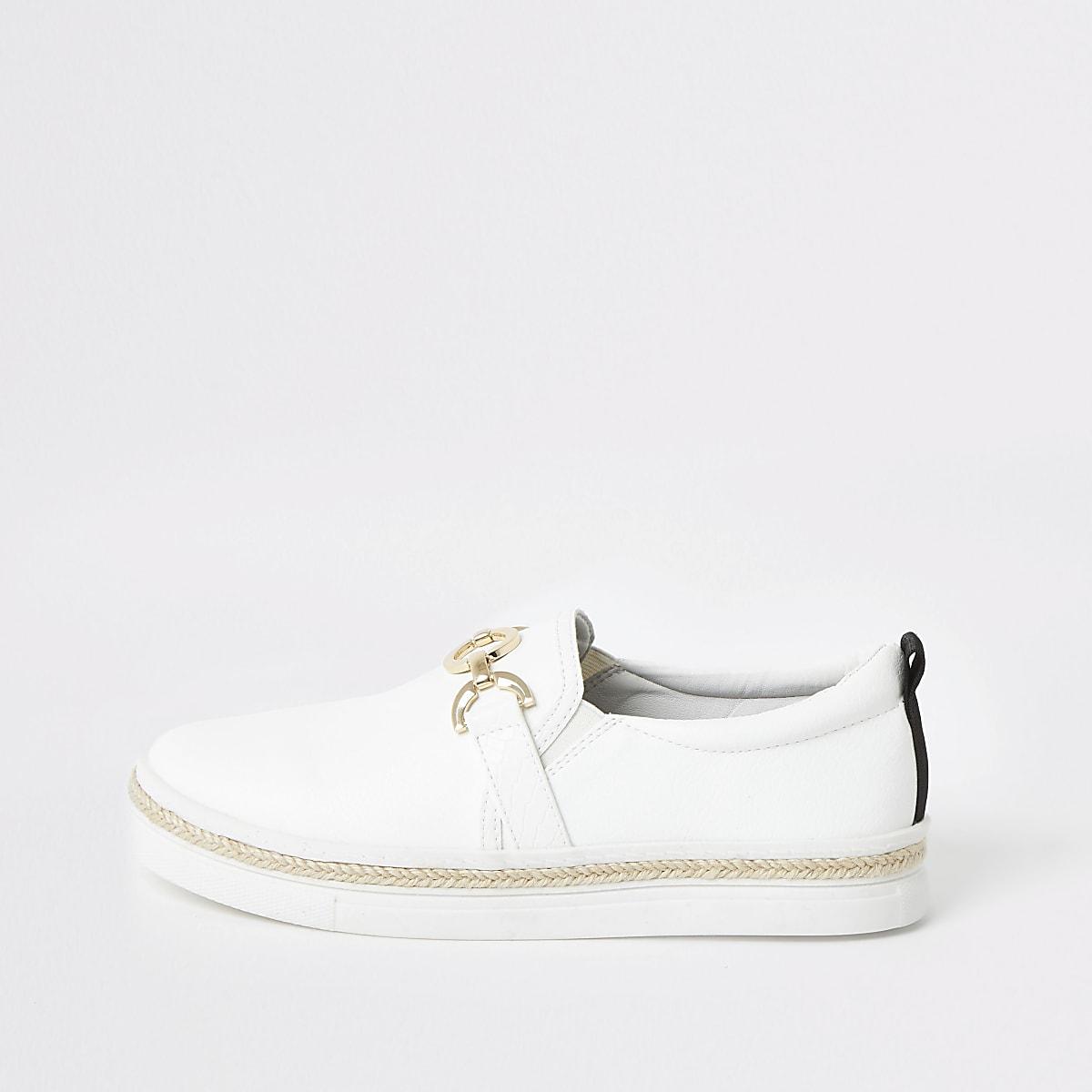 White snaffle slip on sneakers