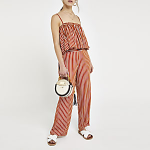 Petite rust stripe crop top