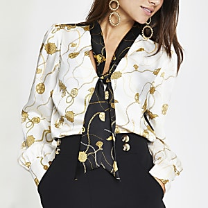 b196651ce7e Petite cream baroque print tie neck blouse